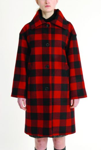 AW1314 WOOL CHECK RUFFLE COLLAR COAT