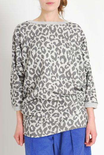 AW1112 LEOPARD BATWING RAGLAN DRESS - GREY