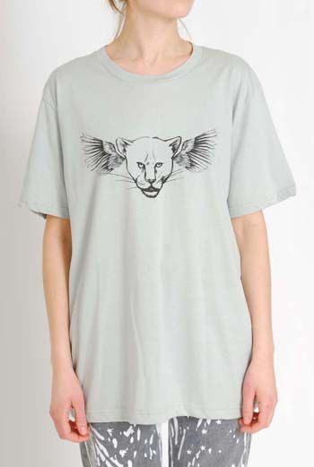 AW1112 FLYING LEOPARD PLACEMENT TEE - GREY