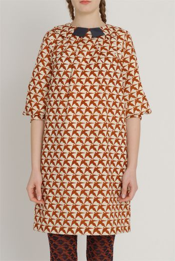 AW1213 THOUSAND PHEASANTS WING COLLAR DRESS - DAMSON - Other Image