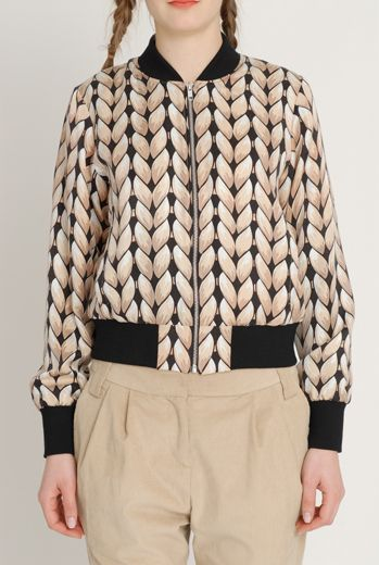AW1213 KNIT YOU LIKE CRAFTY BOMBER - MINK - Other Image