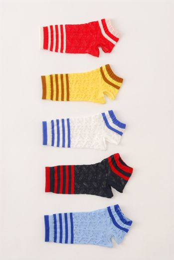 SS10 LACEY STRIPE ANKLE SOCKS - Other Image