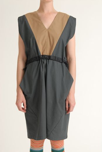 SS12 COTTON SATEEN WARDEN'S DRESS - GREY - Other Image