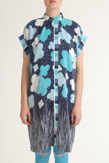 SS12 TOY TOWN BLUES PLACEMENT SHIRT DRESS - TURQUOISE