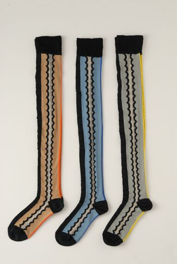 SS12 WAVY PATTERN OVER KNEE SOCKS - VARIOUS