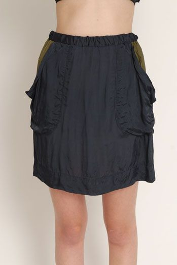 SS13 VISCOSE TWILL ELASTIC WAIST SKIRT - Other Image