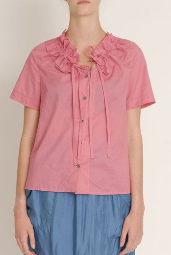 SS13 COTTON SUPREME RUCHE COLLAR BLOUSE - Other Image