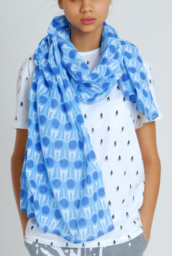 SS11 GRAPHIC-A-RUFFLE UNISEX SKINNY SCARF - BLUE - Other Image