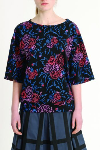 AW1314 FELT TIP ROSES OVERSIZE JERSEY TOP - Other Image
