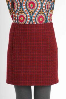 AW10/11 WOOL CHECK PARALLEL SKIRT-MAROON