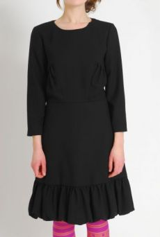 AW1112 WOOL CREPE PREPPY DRESS - BLACK