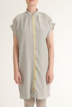 SS12 CREPE DE CHINE SHIRT DRESS - GREY