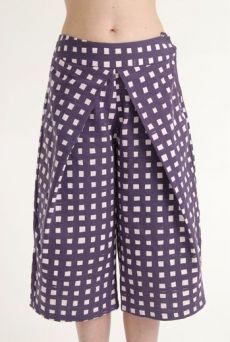 SS12 LAZY GRID PLEAT TROUSER - PURPLE