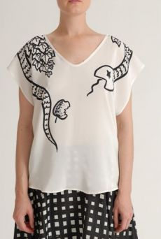 SS12 SNAKE PLACEMENT 3 SEAM TOP - WHITE