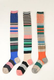 SS12 MULTI STRIPE OVER KNEE SOCKS - VARIOUS