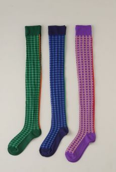 SS12 GINGHAM CHECK OVER KNEE SOCKS - VARIOUS