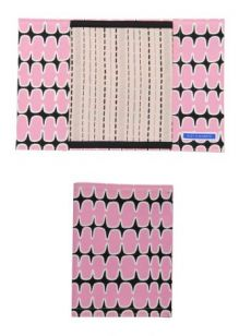 HSS12 FISHBONE/ BROKEN PINSTRIPE NOTEBOOK COVER - PINK