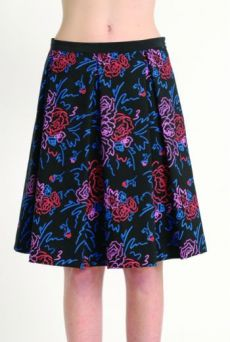 AW1314 FELT TIP ROSES PLEAT SKIRT