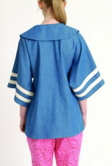 AW1314 COTTON DENIM SAILOR COLLAR TOP - Other Image
