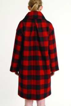 AW1314 WOOL CHECK RUFFLE COLLAR COAT - Other Image