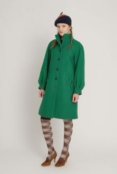 AW1213 WOOL MELTON FROG MOUTH COAT - GRREN - Other Image